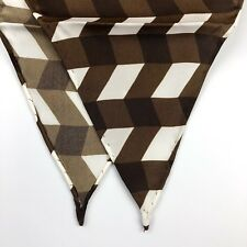 """New 100% Silk Diamond Shaped Brown Chevron Scarf *Made in Italy* 38"""" X 17"""""""