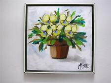 Mid Century Modernist Signed McCaine Abstract PANSIES Pot Floral OIL PAINTING