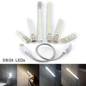 Portable Bright 3/8/24 LED Night Light 5V USB Table Lamp for PC Laptop Reading