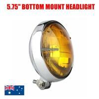 """Chrome amber lens 5.75"""" slim headlight Harley Yamaha Kawasaki Honda Suzuki cafe"""