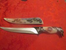 Dagger Knife sword antique type Hunting blade Wolfs Head Handel case steel