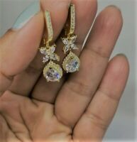 2.0Ct Round Cut Diamond Antique Cluster Drop/Dangle Earrings 14k Yellow Gold Fn
