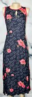 NOSTALGIA Black Multicolor Floral Print Sleeveless Maxi Dress Small Red Trim Tie