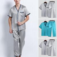 2020 Hommes Pyjamas ensemble de vêtements de soie à manches courtes et pantalons