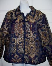 Coldwater Creek Women's  XL Petite Pretty Brocade Jacket Blue Gold Bronze New