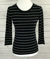 New Directions Top Womens Small S Black Striped 3/4 Sleeve Fitted Stretch Cotton