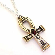 Gold Silver Red Crystal Ankh Amulet Pendant Necklace Egyptian Jewels of Atum Ra