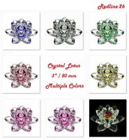 "Decorative Crystal Lotus Paperweight Decor Multiple Colors ( 3"" / 80 mm )"