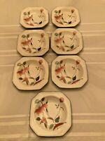 Set of 7 Mikasa Continental Salad Plates, Soup Bowls F3003 SILK FLOWERS