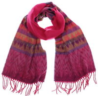 Croft & Barrow Women's Hot Pink Chevron Zig Zag Super Soft Acrylic Fringed Scarf