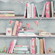 ARTHOUSE CURIOUS PINK BOOKS BOOKCASE BOOKSHELF QUALITY FEATURE WALLPAPER 694000