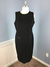 TALBOTS L 12 P Black Ponte Faux Leather Trim Sheath dress Career Cocktail EUC