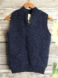 Cat & Jack - Boys 1/4 Zip Pullover Sweater Vest - Sherpa Lined - Navy - Size M