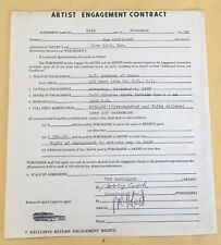 The CadIllacs Signed Artist Engagement Contract 1975 Bobby Cook