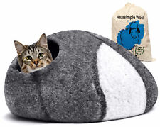 Cat Cave Bed Large Natural Sheep Wool Pets Kitten Puppy House Oval 22 Inch Dia
