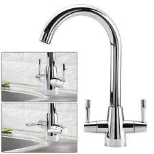 UK Chrome Kitchen Mono Sink Tap Luxury Designer Mixer Twin Dual Lever Swivel