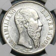 1867-Mo NGC AU 58 Mexico Maximilian Peso Silver Imperial Coin (20082503C)
