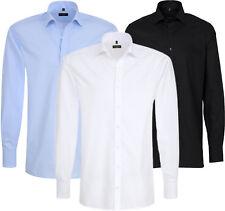 ETERNA Herren Langarm Hemd Comfort & Modern Fit bügelfrei wei�Ÿ blau & schwarz