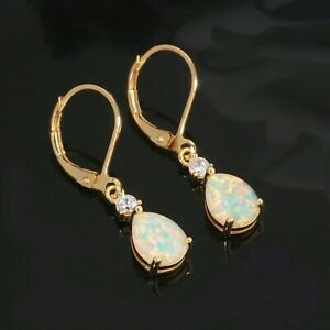 (YGE 1)GORGEOUS WHITE  FIRE OPAL YELLOW  GOLD  LEVER  BACK  EARRINGS
