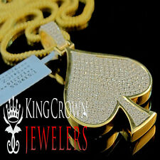 Mens Yellow Gold On Silver Lab Diamond Ace Playing Card Club Heart Pendant 1.15""