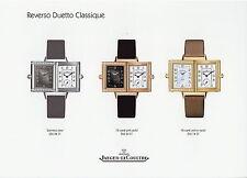 Prospectus Jaeger Lecoultre REVERSO DUETTO Classique 2004 heures montres BROCHURE MONTRES