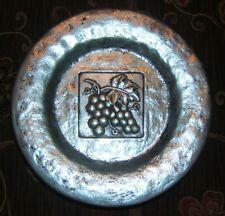 "Hammered Metal Plates Grasslands Road Vineyards Grape Clusters 8"" Round (3)"