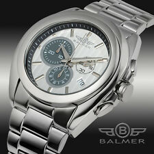 NEW Balmer 0878M Men Swiss Made Chronograph Gallardo Series Silver Durable Watch