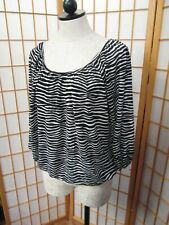 Michael Kors Scoop Neck Jersey Knit Top Small Black White Zebra 3/4th Sleeves
