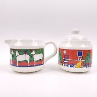 1985 Houze Glass 2PC Christmas Creamer Sugar Diff Scenes Made in England Vintage