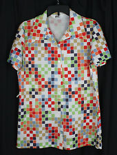 Vintage Montgomery Ward Shirt Blouse Top Geometric Op Art MCM Multi Color M
