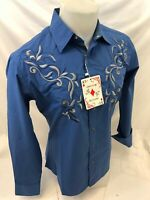 Men RODEO WESTERN COUNTRY ROYAL BLUE PAISLEY Woven SNAP UP Shirt Cowboy 06605