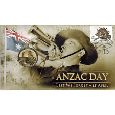 2012 $1 ANZAC Day Lest We Forget Coin and Stamp Cover PNC