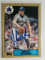 1987 Topps Matt Young Auto Autograph Card Mariners Red Sox Signed #19