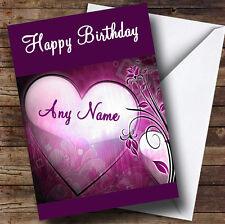 Corazón púrpura romántico Personalizado Cumpleaños tarjeta de saludos