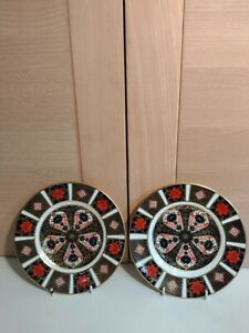Royal Crown Derby 2 First Quality Old Imari 1128 16cm Side Plates 1980 and 1998