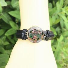 Succulent flowers Black Bangle 20 mm Glass Cabochon Leather Charm Bracelet