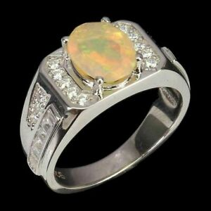 AWESOME FIRE OPAL CHUNKY STERLING RING