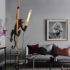 Vintage Resin Monkey Hemp Rope Pendant Light Industrial Ceiling Lamp Chandelier
