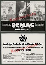 DEMAG Duisburg Kranbau Montan Stahl Maschinenbau Bergbau Hüttenwesen Metall 1936