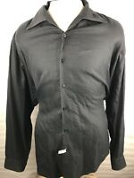"Equilibrio Mens Long Sleeve Black Button Front Shirt Size XL ""I"""