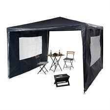 Relaxdays Pavillon 3x3 m, 2 Seitenteile, Metall, PE, Festival Garten Party Zelt