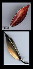 MEKA DENMARK VINTAGE STERLING SILVER RED ENAMEL LEAF PIN