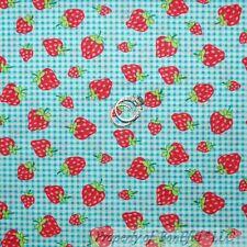 BonEful Fabric FQ Cotton VTG Seersucker Strawberry Aqua White Pink Gingham Fruit