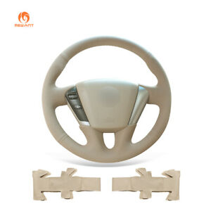 DIY Beige PU Leather Car Steering Wheel Cover Wrap for Nissan Quest Murano