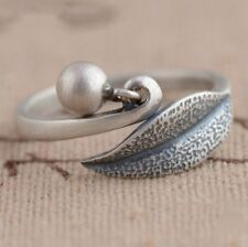 Sterling Silver 925 Nature Leaf Charm Dangle Wrap Ring Adjustable Ball