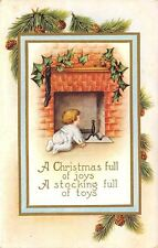 Christmas~Baby in Back Flap Pajamas Crawls to Fireplace~Pine Cones~Whitney Made
