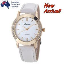 NEW ARRIVAL Luxury Gold Simple White Wristwatch Women Leather Analog Quartz
