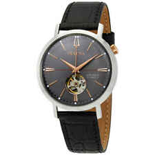 Brand New!! Bulova Classic Automatic Grey Dial Black Leather Men's Watch 98A187