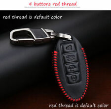Leather Car Key Case For Nissan Infiniti 4 Buttons Key FOB Holder Cover NEW