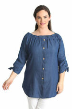 Long Sleeve Solid Plus Size Button Down Shirt Tops for Women